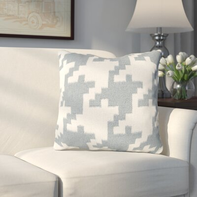 Timothy Houndstooth Throw Pillow Color: Papyrus / Slate Blue, Filler: Down