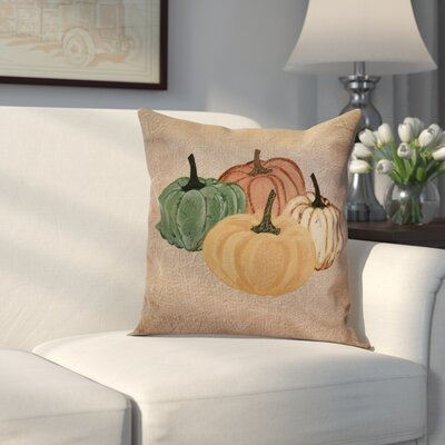 Miller Paper Mache Pumpkins Outdoor Throw Pillow Size: 18 H x 18 W x 2 D, Color: Taupe
