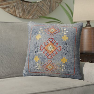 Yvonne Distressed Indoor/Outdoor Throw Pillow Size: 16 H x 16 W x 5 D, Color: Blue/ Yellow/ Red