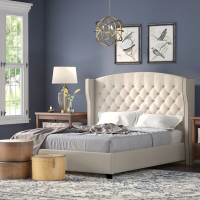 Arandike Nail Head Wing Back Tufted Upholstered Platform Bed Size: Queen, Color: Beige