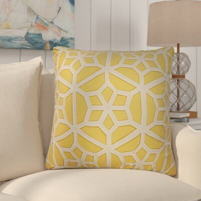 Bonham Geometric Pattern Polyester Throw Pillow Color: Yellow / Taupe