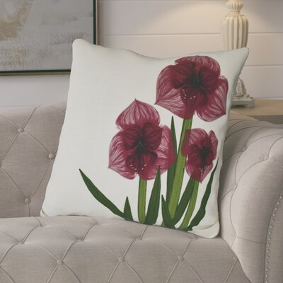 Amanda Amaryllis Floral Print Euro Pillow Color: Red