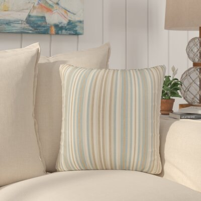 Livia Stripe Indoor/Outdoor Sunbrella Throw Pillow Size: 22 H x 22 W x 6 D, Color: Teal Beige