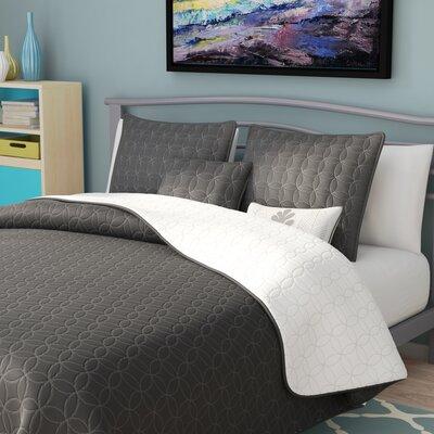 Duane Quilt Set Color: Charcoal, Size: Queen