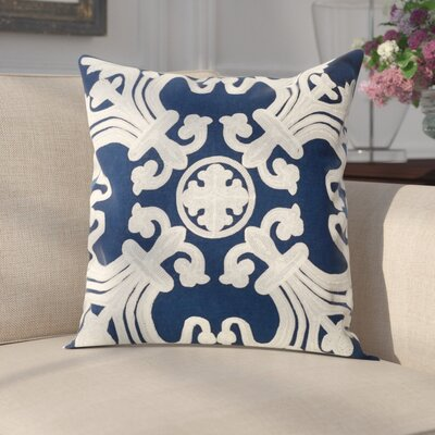 Goodrum 100% Cotton Throw Pillow Size: 18 H x 18 W x 2.5 D, Color: Navy Blue