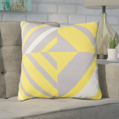 Clio Square Cotton Indoor Throw Pillow Size: 20 H x 20 W x 4 D, Color: Saffron / Gray / White