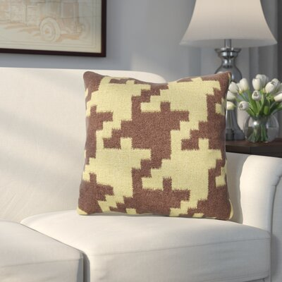 Timothy Houndstooth Throw Pillow Color: Espresso / Avocado, Filler: Down