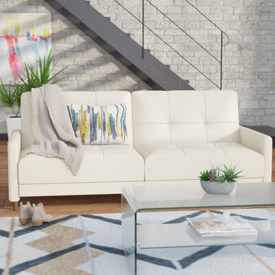 Benitez Faux Leather Convertible Sofa Upholstery: Off-White