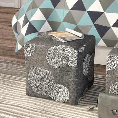 Doris Sunflower Cube Ottoman Upholstery: Charcoal/White