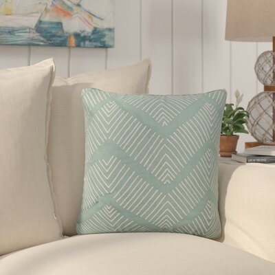 Faulkner Stitched Chevron Pattern Cotton Throw Pillow Color: Green / Ivory