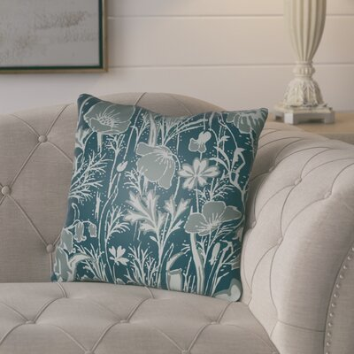 Teena Floral Throw Pillow Size: 20 H x 20 W x 4 D, Color: Dark Teal