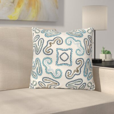 Oak Hill Cotton Throw Pillow Size: 22 H x 22 W x 4 D, Color: Cream/Sky Blue/Navy/Teal/Bright Blue