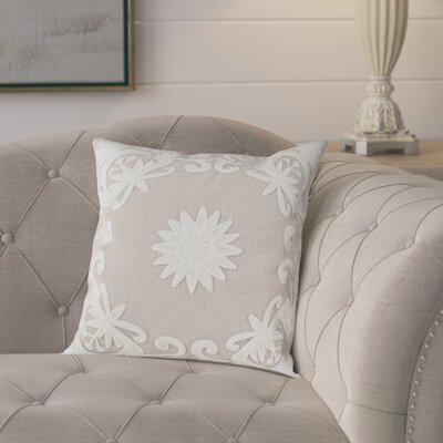 Baltic Floral Embroidery Motif Beaded Cotton Throw Pillow Color: Ivory