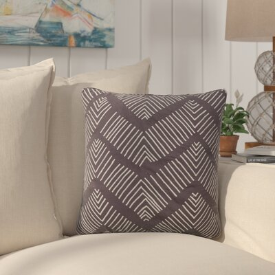 Faulkner Stitched Chevron Pattern Cotton Throw Pillow Color: Grey / Ivory