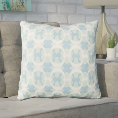Clio Geometric Cotton Throw Pillow Size: 18 H x 18 W x 4 D, Color: Mint / Sky Blue / White
