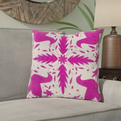 Clayton Throw Pillow Size: 18 H x 18 W, Color: Oatmeal / Raspberry, Filler: Polyester