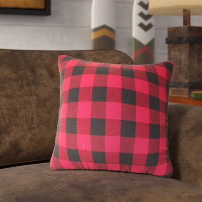 Ryan Check 100% Cotton Throw Pillow Color: Red