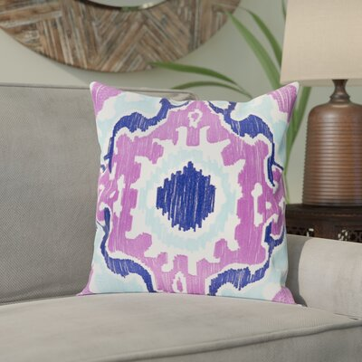 Ayaan 100% Cotton Pillow Cover Size: 18 H x 18 W, Color: Bright Purple/Violet/Aqua