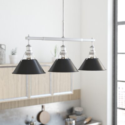 Weatherford Linear 3-Light Kitchen Island Pendant Finish: Pewter, Shade Color: Black