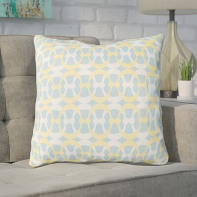 Clio Geometric Cotton Throw Pillow Size: 18 H x 18 W x 4 D, Color: Aqua / Butter / White