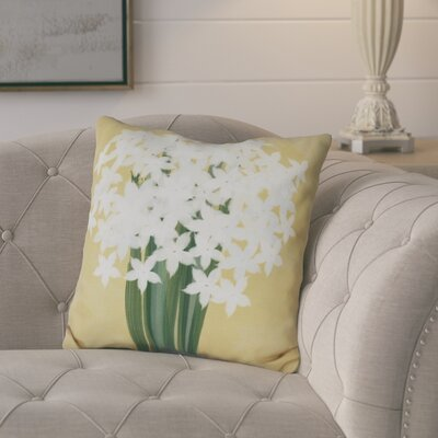 Amanda Paperwhites Floral Print Outdoor Throw Pillow Size: 18 H x 18 W, Color: Gold