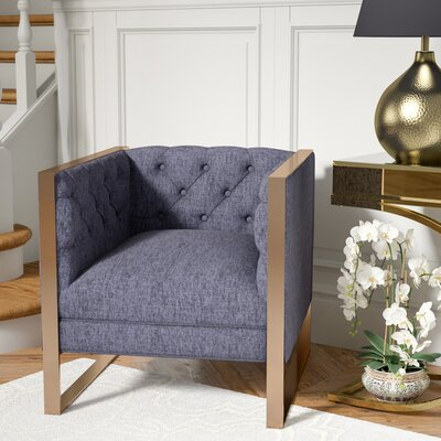Hilltop Armchair Upholstery: Navy, Finish: Gold