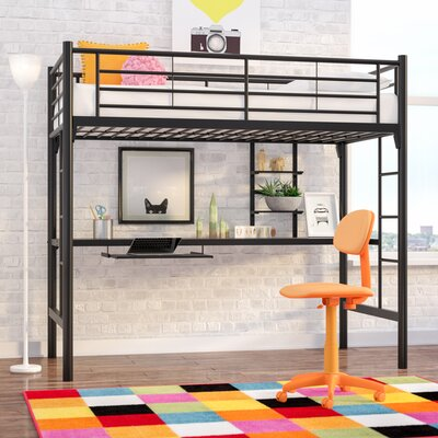 Jose Twin Loft Bed with Workstation Color: Black