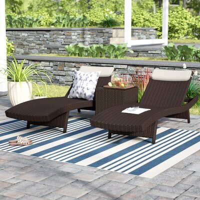 Grote Patio 3 Piece Single Chaise Lounge Set Finish: Brown, Fabric: Off-White
