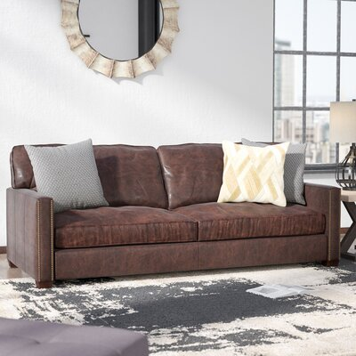 Selden Nailhead Leather Sofa Upholstery: Cigar