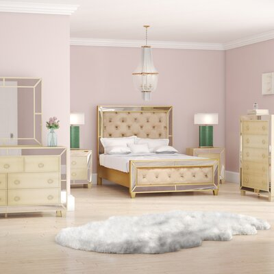 Alasdair Mirrored Tufted Platform 6 Piece Bedroom Set Size: Queen
