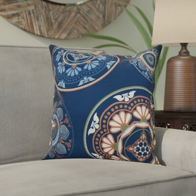 Soluri Medallions Outdoor Throw Pillow Size: 16 H x 16 W x 2 D, Color: Blue