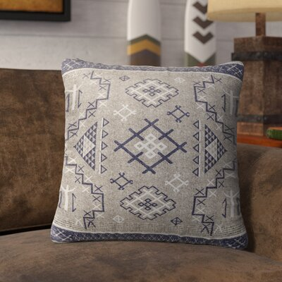 Cyrill Burlap Indoor/Outdoor Throw Pillow Size: 18 H x 18 W x 5 D, Color: Beige/ Blue