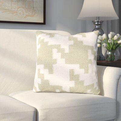 Timothy Houndstooth Throw Pillow Color: Antique White / Khaki Green, Filler: Down