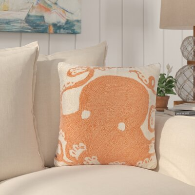 Coello Octopus Throw Pillow Color: Orange