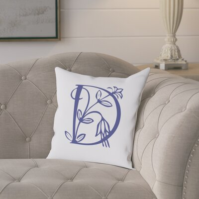 Attina Personalized Floral Initial Throw Pillow Letter: D