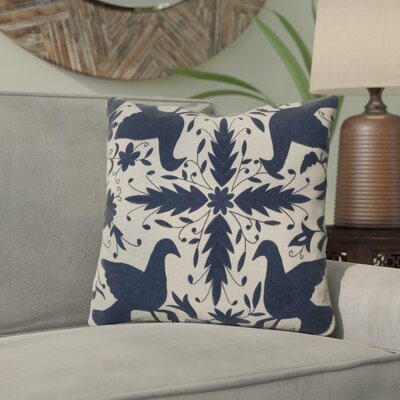 Clayton Throw Pillow Size: 18 H x 18 W, Color: Oatmeal / Midnight Blue, Filler: Down
