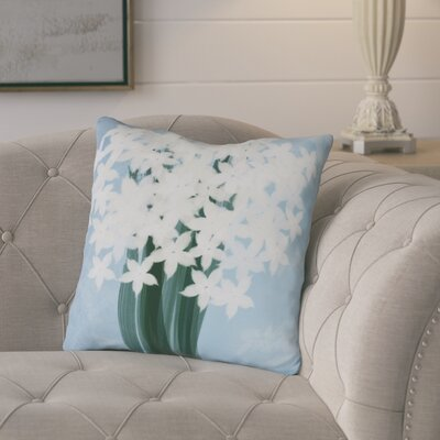 Amanda Paperwhites Floral Print Outdoor Throw Pillow Size: 16 H x 16 W, Color: Light Blue