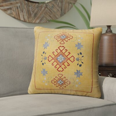 Yvonne Distressed Indoor/Outdoor Throw Pillow Size: 16 H x 16 W x 5 D, Color: Orange/ Blue Red