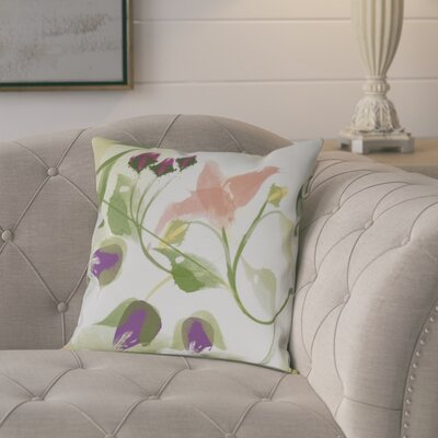 Roscoe Windy Bloom Floral Outdoor Throw Pillow Size: 16 H x 16 W, Color: Coral