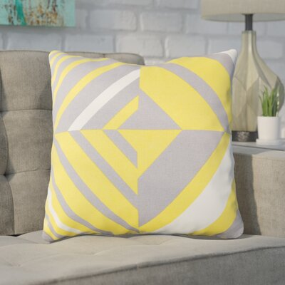 Clio Zipped Cotton Throw Pillow Size: 20 H x 20 W x 4 D, Color: Saffron / Gray / White