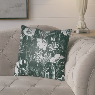 Teena Floral Throw Pillow Size: 22 H x 22 W x 5 D, Color: Dark Sea