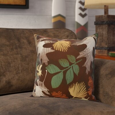 Brookfield Watercolor Leaves Floral Outdoor Throw Pillow Size: 18 H x 18 W x 2 D, Color: Brown