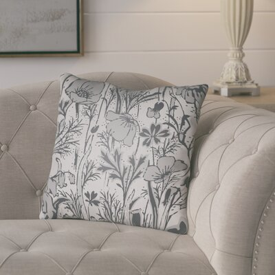 Teena Floral Throw Pillow Size: 20 H x 20 W x 4 D, Color: Grey