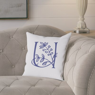 Attina Personalized Floral Initial Throw Pillow Letter: U
