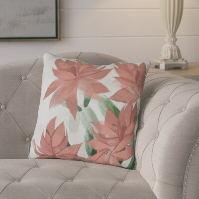 Amanda Christmas Cactus Floral Print Outdoor Throw Pillow Size: 18 H x 18 W, Color: Coral
