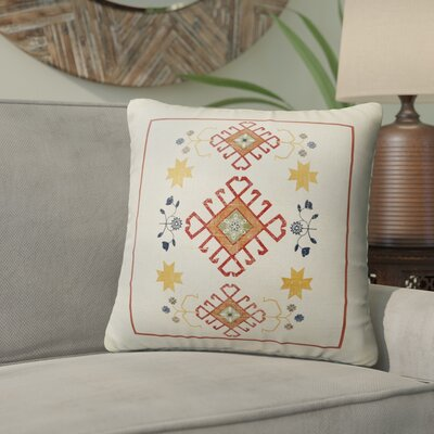 Yvonne Distressed Indoor/Outdoor Throw Pillow Size: 18 H x 18 W x 5 D, Color: Ivory/ Yellow/ Red