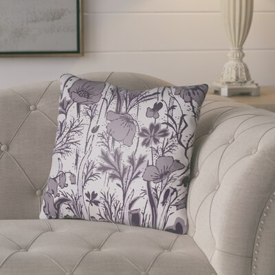 Teena Floral Throw Pillow Size: 18 H x 18 W x 4 D, Color: Light Purple