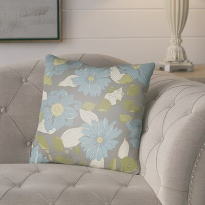 Lyda Flower Throw Pillow Size: 20 H x 20 W x 4 D, Color: Light Blue