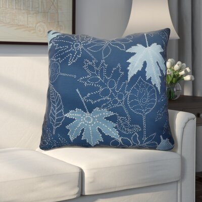Miller Dotted Leaves Floral Euro Pillow Color: Blue