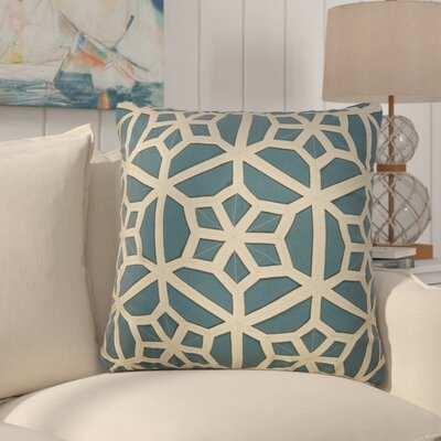 Bonham Geometric Pattern Polyester Throw Pillow Color: Blue / Taupe